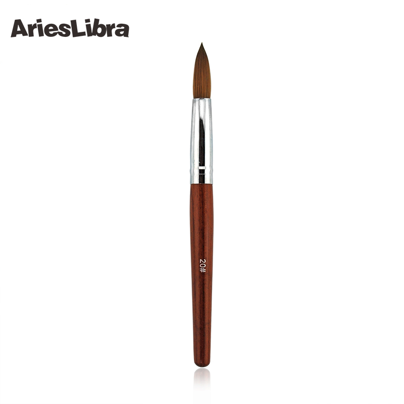 AriesLibra 20# 100% Red Wood Kolinsky Sable Nail Art Builder Brush Nail Tools Nail Art Brush For Nails Painting<br>