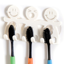 BornIsKing Bathroom Sets Cartoon Sucker Suction Hooks 5 Position Toothbrush Holder Smiling Face Toothbrush Holder Stand(China)
