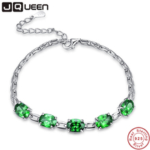 JQUEEN Oval Cut Nano Russian Emerald 925 Sterling Silver Bracelet Charm Wedding Jewelry Classic Bracelets For Women(China)