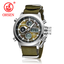 Hot Selling Original Famous Brand OHSEN Quartz Sports Men Watches Male Clock Nylon Band Fashion Casual Wristwatches For Men Gift
