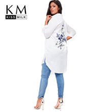 Buy kissmilk 2018 Plus Size Solid White Women Blouses Floral Embroideried Long Sleeve Female Clothing Casual Lady Big Size Tops for $28.22 in AliExpress store