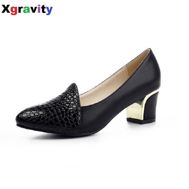 Autumn Point Toe Bridal Shoes Chunky Heels Burst Skin Women Evening Shoes Elegant Genuine Leather Woman Mid Heeled Pumps C119<br>