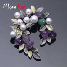 MloveAcc Colorful Natural Stone Leaf Brooches Pins Vintage Style Imitation Pearl Big Women Brooch Wedding Accessories Jewelry(China)
