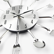 Cutlery Metal Kitchen Wall Clock Spoon Fork Creative Quartz Wall Mounted Clocks Modern Design Decorative Horloge Murale Hot Sale(China)