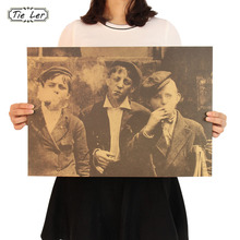 TIE LER American Newsboy Nostalgic Retro Kraft Paper Poster Bar Coffee Bar Decorative Painting Wall Sticker 51.5X36cm(China)