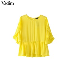 Vadim women sweet ruffles chiffon shirts butterfly sleeve o neck yellow blouse ladies summer casual tops blusas DT1243(China)