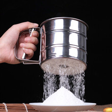 2016 hot sale Free Shipping Stainless Steel Mesh Flour Sifter Mechanical Baking Icing Sugar Shaker Sieve Tool Cup Shape(China)