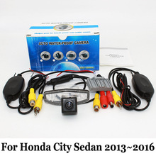 For Honda City GM6 2014~2016 / RCA AUX Wire Or Wireless Backup Camera / HD Wide Lens Angle / CCD Night Vision Rear View Camera