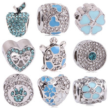 AIFEILI Lovely Blue Beads Fit Original Pandora Bracelet Necklace Big Hole Diy Charms For Women Enamel Heart Shape Pendant Gift(China)