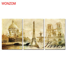 WONZOM HD Printed Paris Scenic Spots Wall Picture Framed Directly To Hang For Living Room Large Modern Cuadros Decoracion 2017(China)