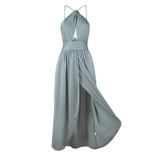 Buy LASPERAL Beach Dress Sexy Backless Summer Side Split Women Dress Halter Bandage Long Maxi Dress Elegant Dresses Female Vestidos