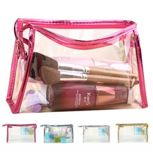 Fashion Transparent Waterproof Cosmetic PVC Bag Over Receive Toilet Bags Organizer Makeup Bag 5 Colors To Choose OB(China)