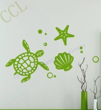 Large size Sea animals decal - Sea Turtle Shell Vinyl Wall Decal Stickers Modern Beach Decor(China)