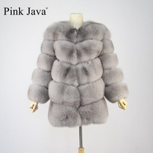 pink java QC8066  high quality women  real fox fur coat wihter warm thick fox fur jacket genuine fur  short coat long sleeves