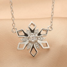Coleon 100% Real Silver Luxury Snowflake Pendant Necklace with Varies Gemstones 925 Sterling Women Christmas Jewelry Gift(China)