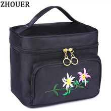 Embroidery Flower Woman Cosmetic Bags Organizer Beauty Neceser Bag Travel Toiletry Bag Large Capacity Storage Makeup Bag ZL8061(China)