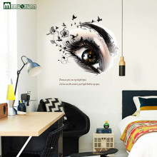 2017 New Big Eye Art Wall Sticker Beauty Salon Diy Vinyl Removable Home Decor Stickers Living Room Poster Eyebrow Shop Decals(China)