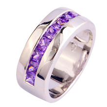 Factory Direct Jewelry Purple CZ Plated Silver Fashion Ring Size 6 7 8 9 10 Free Shipping Wholesale