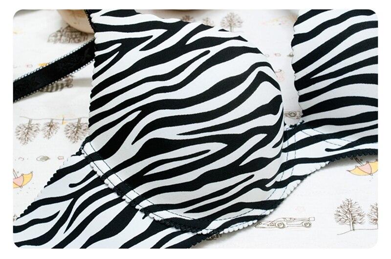 Fashion Ladies Sexy Lace Brassier Zebra Pattern Bra For Woman Push Up Bralette Comfortable Underwear One-Piece Lingerie Bra Set