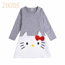 Cartoon Lovely Baby Girl Dress Long Sleeve Hello Kitty Cotton Kids Dress for Girls Clothes Children Brand Clothing Sale 2017