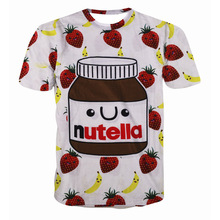 2017 New Europe and American style 3d Nutella strawberry full printed t shirt unisex casual short sleeve tee tops shirts  TS38
