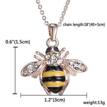 Velishy1PC Cute Solid Little Bee Pendant Animal Necklace for Women Rose Brand Jewelry(China)
