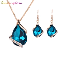 Yunkingdom Green Crystal Earrings Gold Color Necklaces& linked Earrings Geometric Design Wedding Jewelry Sets For Women
