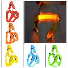 LED Dog Pet Chest Straps Luminous Adjustable Safety Light Up Nylon Tag Medium and large dog luminous dog rope pet supplies