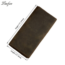 Men's Crazy Horse Leather long wallet Brown Cow leather bifold wallet with phone pocket Cowhide long leather purse card case