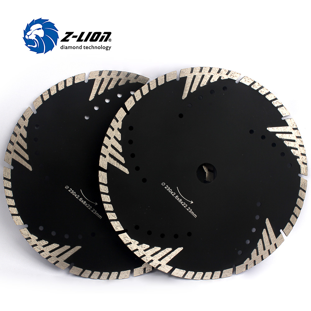 Z-LION 9 230mm 2pcs/Lot Diamond Cutting Blade For Stone Protective Teeth Turbo Diamond Saw Blade Wheel Arbor 22.23mm<br>