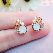 Fashion Exquisite Lady Fresh Leaf Earrings Jewelry Women Gift Stud Earrings Stud Earrings Rhinestone Teardrop(China)