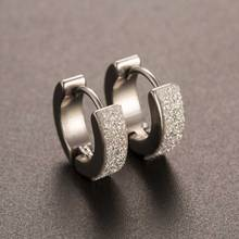 TOMTOSH Chic 1Pair Cool Punk Men's Stainless Steel Hoop Piercing Round crystal Earring Ear Stud men woman jewelry