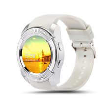 2017 New SmartWatch V8 1.22 inch Full Circular Screen Support WeChat SIM & TF Card MP3/MP4 Bluetooth Watch For IOS Android Phone(China)