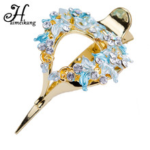 Haimeikang 2017 Romantic Bridal Wedding Flower Hollow Hairpins Duckbill Clip Women Luxury Shiny Rhinestone Hair Clip Headdress(China)
