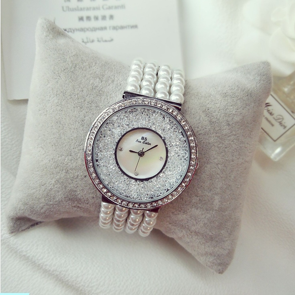 2017 Arrival Famous BS brand Full Crytal Women Stylish Watch Lady Luxury Dress Pearl Bracelet Bangle Bracelet Free shipping<br>