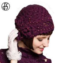 FS Elegant Purple Floral Winter Hat Knitted Beanies For Women Scarf Set Thicken Slouchy Girl Ladies With Rhinestone Feminino Cap(China)