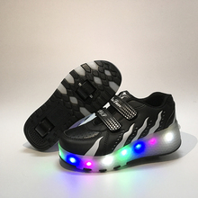 Eur Size 27-43// Children Tenis LED Sneakers Double Wheels Flame Buty Led Luminous Boys Girls Toddler Rollers Glowing Sneakers(China)