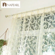 European style leave design modern curtain sheer panel tulle for window bedroom living room kitchen white red purple curtain(China)
