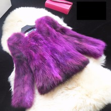 Color gradient natural raccoon dog fur coats women autumn winter new short design real fur coat outerwear women's jacket g9278