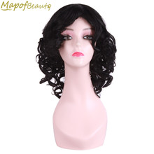 "3 Colors Black Brown Blonde Afro Wig 14"" Short Kinky Curly Wigs For Black Women Synthetic Heat Resistant Fake Hair MapofBeauty(China)"