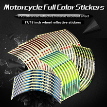 16 strips motorcycle rim decals reflective wheel tape eight types optional specified sign label decorative wheel rim stickers(China)