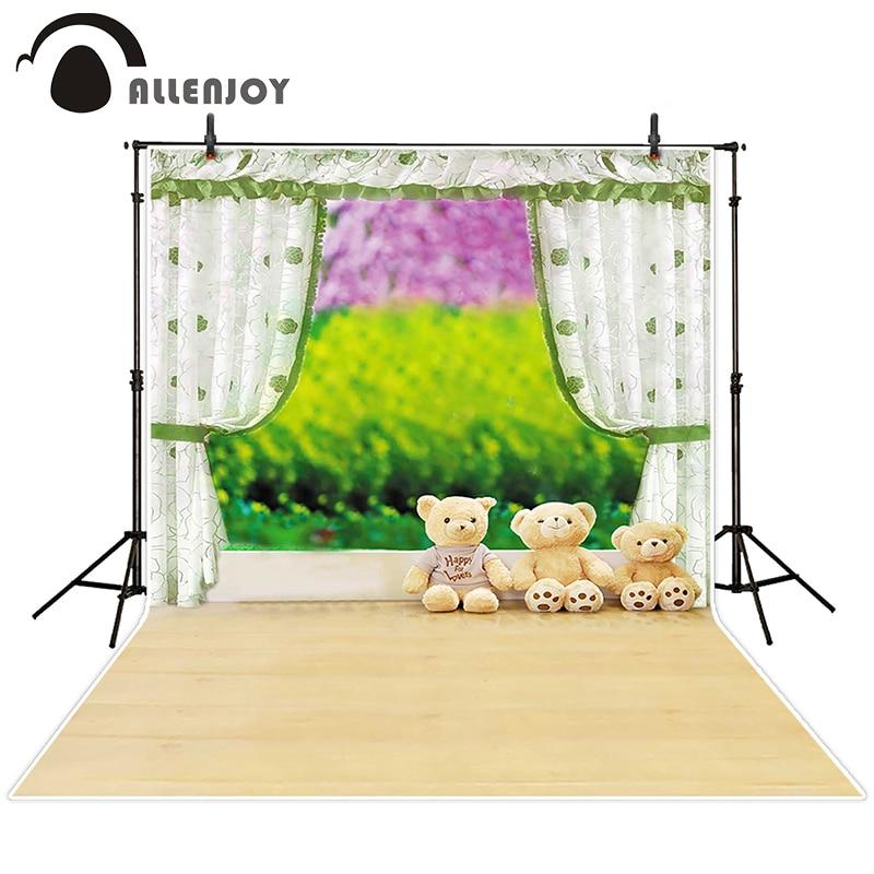 Allenjoy photographic background Curtains fuzzy teddy bear grass backdrops kids wedding digital Send rolled 5x7ft<br><br>Aliexpress