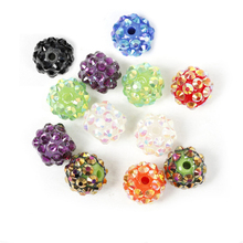 10pcs Full of Rhinestones Crystal Ball Acrylic Resin Round Spacer Charm Beads Spacer loose beads for making jewelry