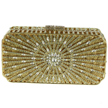Small Crystal Evening Clutch Bags Gold Luxury Discount Designer Purses for Brides Sunray Patterns Metallic Silver Clutch Bag
