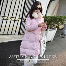 Brand Winter Jackets White goose Down Jacket Women 2016 Medium Long Thick warm Raccoon Fur Hooded Parkas 2016 Top quality