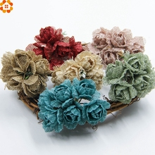 6pcs Burlap Rose Artificial Flowers Bouquet Jute flowers For Home Wedding Party Car Decoration Scrapbooking Wreath Fake Flowers