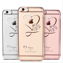 For iPhone 6 Case Ultra Thin Clean Soft TPU Crystal Phone Cases Rose Plating Glitter Diamond Cover For iPhone 6 6S 7 7 Plus Case(China)