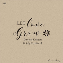 Let Love Grow sunflower Stamp Seed Wedding Favor Stamp and Favor Idea Custom Rubber Stamp 2x1.5 inch