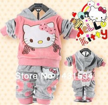 RETAIL baby 2piece clothing set tracksuits Girl's Hello Kitty clothing sets velvet Sport suits hoody jackets clothes +pants