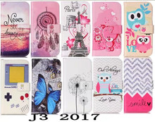 J3 2017 flip leather case For Samsung Galaxy J3 2017 Pink Bear Smile Paris tower butterfly smart phone cellular fundas coque bag